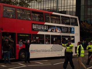 EDF demonstrators on bus