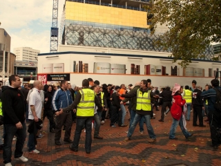 EDL security try to calm the crowd