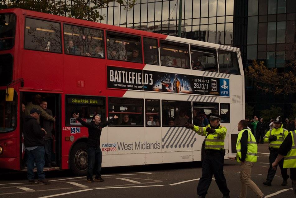 EDF demonstrators on bus