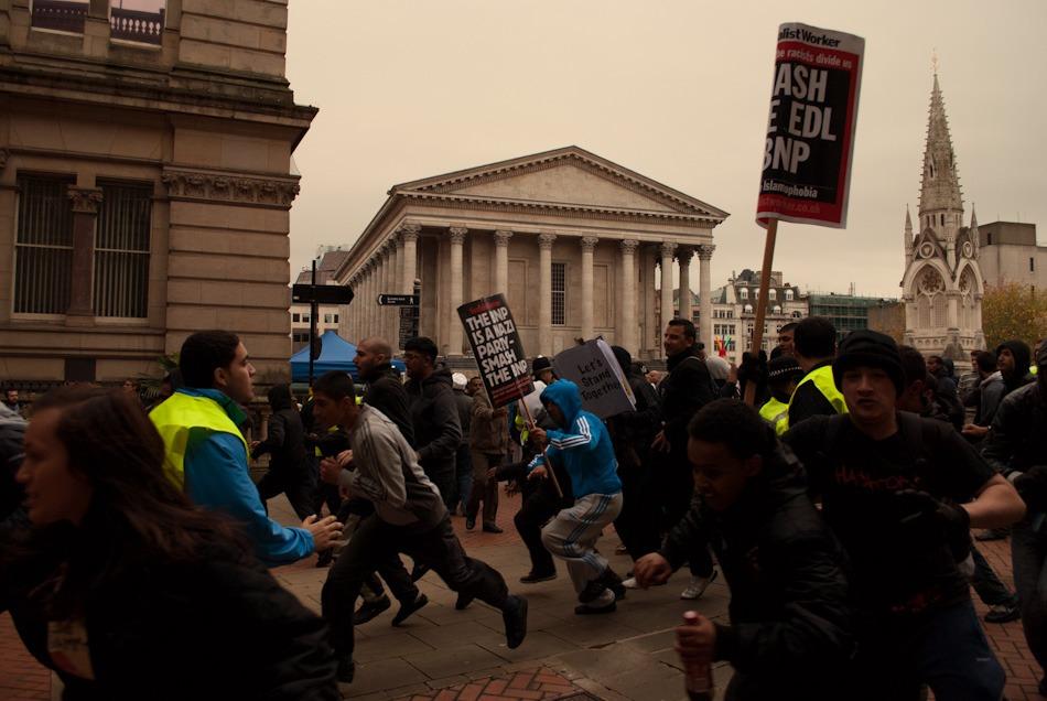 Protestors break the police line